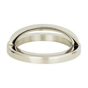 """Atlas Homewares 2 1/2"""" Centers Round Base In Polished Nickel With Curved Handle In Polished Nickel"""