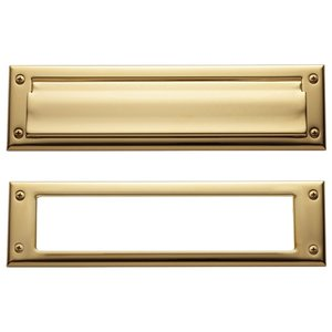 Baldwin Hardware Package Size Mail Slot in Lifetime PVD Polished Brass
