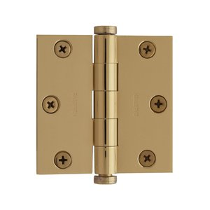"Baldwin Hardware 3"" x 3"" Square Corner Door Hinge in Lifetime PVD Polished Brass"