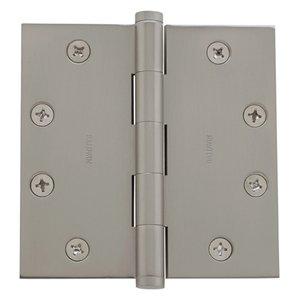 """Baldwin Hardware 4 1/2"""" x 4 1/2"""" Square Corner Door Hinge in Satin Nickel"""