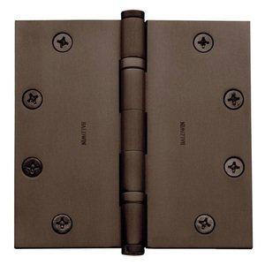 "Baldwin Hardware 4 1/2"" x 4 1/2"" Ball Bearing Square Corner Door Hinge with Non Removable Pin in Venetian Bronze"