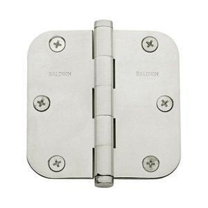 "Baldwin Hardware 3 1/2"" x 3 1/2"" 5/8"" Radius Door Hinge in Polished Nickel"