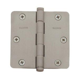 """Baldwin Hardware 3 1/2"""" x 3 1/2"""" 1/4"""" Radius Door Hinge in Satin Nickel"""