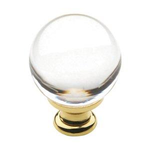 "Baldwin Hardware 1 3/16"" Diameter Round Crystal Knob in Polished Brass"