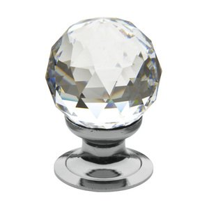 "Baldwin Hardware 1 3/16"" Diameter Faceted Swarovski Crystal Knob in Polished Chrome"
