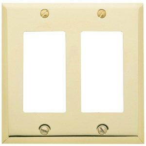 Baldwin Hardware Double GFI/Rocker Beveled Edge Switchplate in Polished Brass
