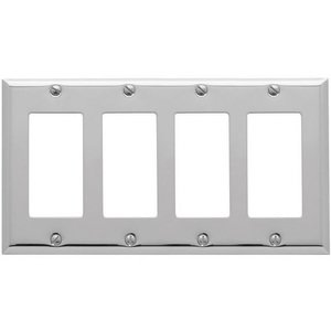 Baldwin Hardware Quadruple GFI/Rocker Beveled Edge Switchplate in Polished Chrome