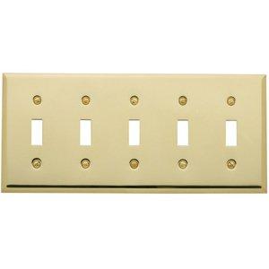 Baldwin Hardware Five Gang Toggle Beveled Edge Switchplate in Polished Brass