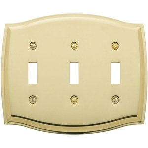 Baldwin Hardware Triple Toggle Colonial Switchplate in Polished Brass
