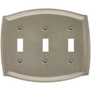 Baldwin Hardware Triple Toggle Colonial Switchplate in Satin Nickel