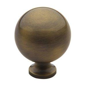 """Baldwin Hardware 1 1/4"""" Diameter Spherical Knob in Satin Brass & Black"""