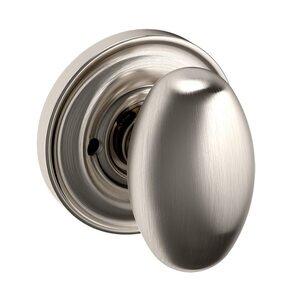 Baldwin Hardware Privacy Door Knob with Classic Rose in Satin Nickel