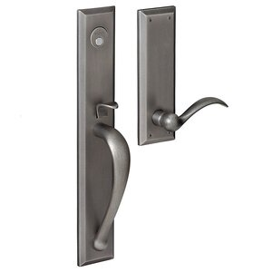 Baldwin Hardware Full Escutcheon Left Handed Full Dummy Handleset with Beavertail Lever in Distressed Antique Nickel