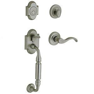 Baldwin Hardware Sectional Left Handed Full Dummy Handleset with Wave Lever in Antique Nickel