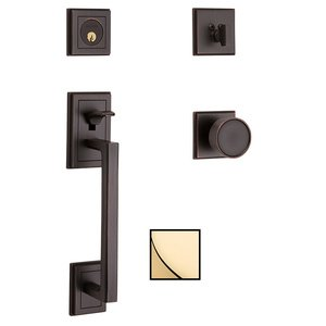 Baldwin Hardware Full Dummy with Knob Sectional Handleset in Nonlacquered Brass