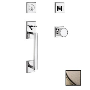 Baldwin Hardware Single Cylinder with Knob Sectional Handleset in Lifetime Pvd Satin Nickel