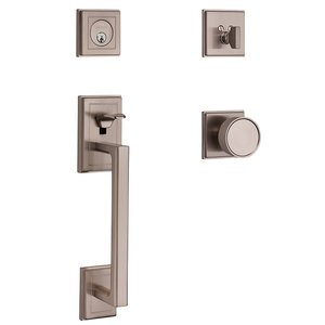 Baldwin Hardware Full Dummy with Knob Sectional Handleset in Satin Nickel