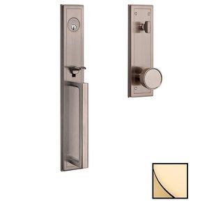 Baldwin Hardware Full Escutcheon Single Cylinder Handleset with Knob in Unlacquered Brass
