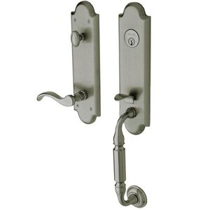 Baldwin Hardware Escutcheon Right Handed Single Cylinder Handleset with Wave Lever in Antique Nickel