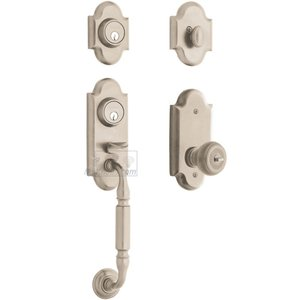 Baldwin Hardware Two Point Single Cylinder Handleset with Colonial Knob in Lifetime PVD Satin Nickel