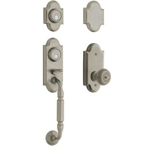 Baldwin Hardware Two Point Full Dummy Handleset with Colonial Knob in Antique Nickel