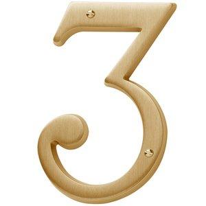 Baldwin Hardware #3 House Number in PVD Lifetime Satin Brass