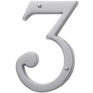 Baldwin Hardware #3 House Number in Polished Chrome