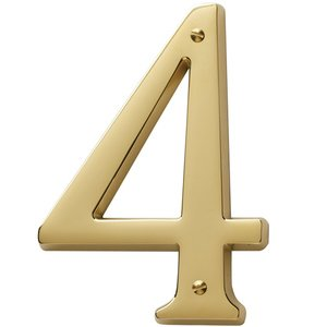 Baldwin Hardware #4 House Number in Lifetime PVD Polished Brass
