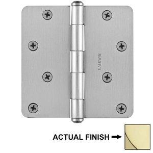 "Baldwin Hardware 4"" 1/4"" Radius Corner Door Hinge in Polished Brass"