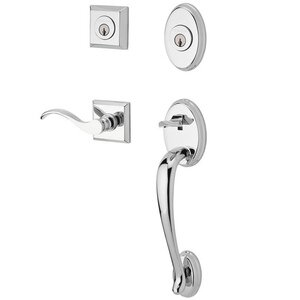 Baldwin Hardware Handleset with Right Handed Curve Lever and Traditional Square Rose in Polished Chrome