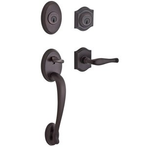 Baldwin Hardware Handleset with Left Handed Decorative Lever and Traditional Arch Rose in Venetian Bronze
