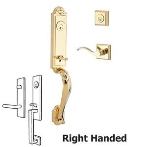 Baldwin Hardware Handleset with Right Handed Curve Lever and Traditional Square Rose in Polished Brass