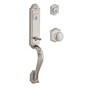 Baldwin Hardware Handleset with Round Knob and Traditional Arch Rose in Satin Nickel