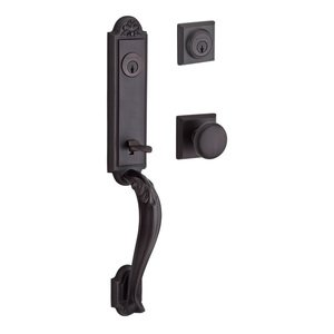 Baldwin Hardware Handleset with Round Knob and Traditional Square Rose in Venetian Bronze