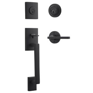 Baldwin Hardware Left Handed Double Cylinder La Jolla Handleset with Square Door Lever with Contemporary Round Rose in Satin Black