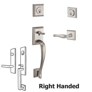 Baldwin Reserve - Napa Handleset with Right Handed Decorative Lever and Traditional Square Rose in Satin Nickel