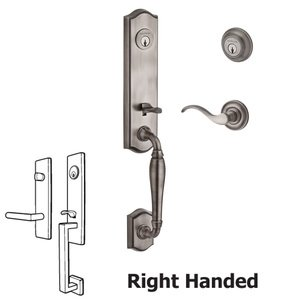 Baldwin Hardware Handleset with Right Handed Curve Lever and Traditional Round Rose in Matte Antique Nickel
