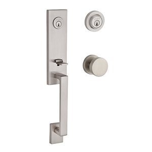 Baldwin Hardware Double Cylinder Seattle Handleset with Contemporary Door Knob with Contemporary Round Rose in Satin Nickel