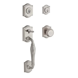 Baldwin Hardware Handleset with Traditional Knob and Traditional Arch Rose in Satin Nickel
