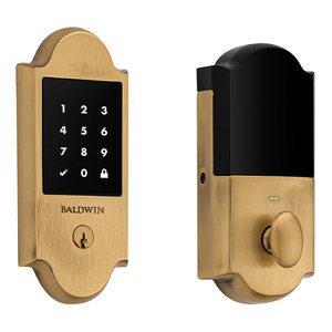 Baldwin Hardware Boulder Touchscreen Deadbolt with Z-Wave in Satin Brass & Brown