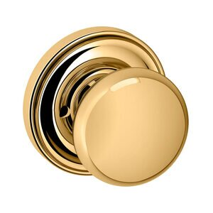 Baldwin Hardware Privacy 5000 Estate Knob with 5048 Rose in Lifetime Pvd Polished Brass