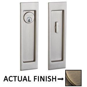 Baldwin Hardware Large Santa Monica Keyed Mortise Pocket Door Set in Antique Brass