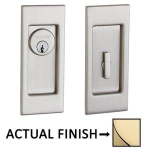 Baldwin Hardware Small Santa Monica Keyed Mortise Pocket Door Set in Lifetime Brass