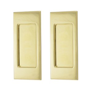 Baldwin Hardware Small Santa Monica Passage Mortise Pocket Door Set in Lifetime Brass