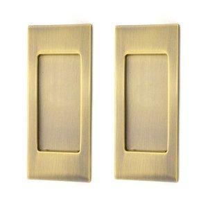 Baldwin Hardware Small Santa Monica Passage Mortise Pocket Door Set in Antique Brass