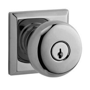 Baldwin Hardware Keyed Entry Door Knob with Traditional Square Rose in Polished Chrome