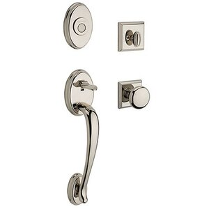 Baldwin Hardware Full Dummy Columbus Handleset with Round Door Knob with Traditional Square Rose in Polished Nickel