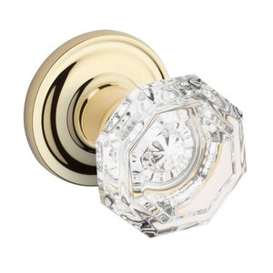 Baldwin Hardware Full Dummy Crystal Door Knob with Traditional Round Rose in Polished Brass