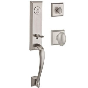 Baldwin Reserve - Del Mar Handleset with Ellipse Knob and Traditional Square Rose in Satin Nickel