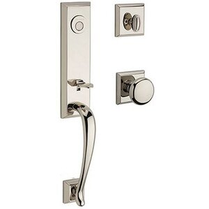 Baldwin Hardware Full Dummy Del Mar Handleset with Round Door Knob with Traditional Square Rose in Polished Nickel